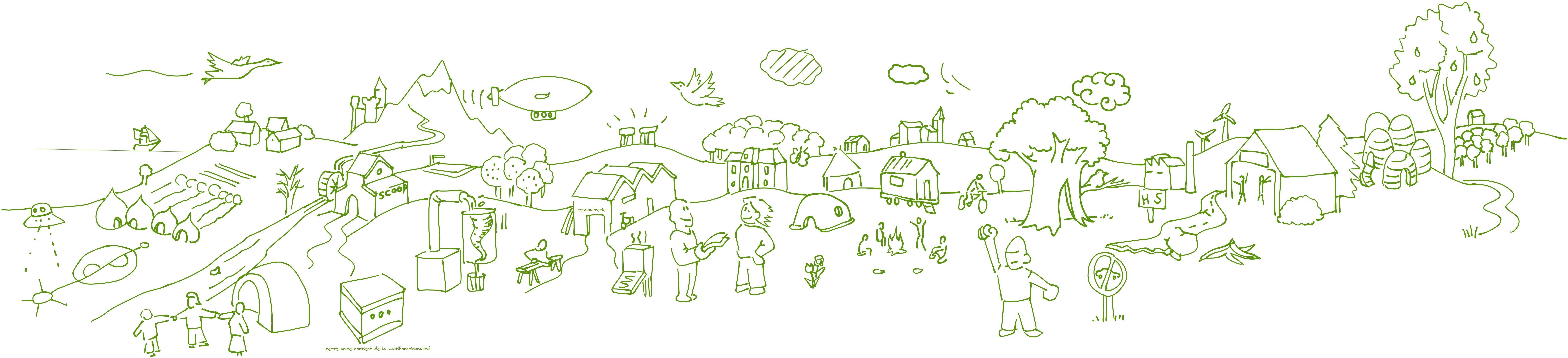 Dessin réalisé par Miko Kontente Lien vers: https://www.colibris-lemouvement.org/magazine/faire-ensemble-pour-rever-et-construire-son-territoire